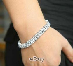 10Ct Diamond Tennis Perfect Bracelet 7 2 Row Round Diamonds 14K White Gold Over