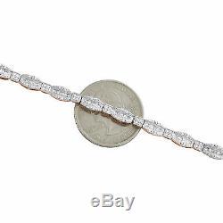 10K Rose Gold Over 7Ct Round & Emerald Cut Diamond Bracelet 7.25inches