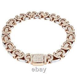 10K Two Tone Gold Over 7Ct Round Cut VVS1 Diamond Infinity Statement Bracelet 8