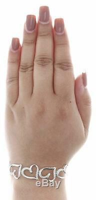 10K White Gold Over 7Ct Round Diamond Bracelet Heart Shape Link 7.25inches