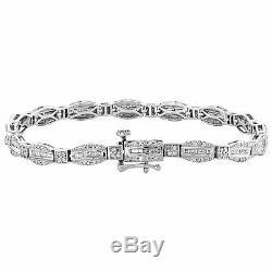 10K White Gold Over 7Ct Round & Emerald Cut Diamond Bracelet 7.25inches