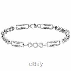 10K White Gold Over 7 Carat Round Cut Diamond Infinity Statement Bracelet 7.25