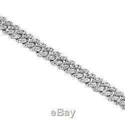 10K White Gold Over 7t Round Diamond Link 8 Cuban Link Bracelet Mens Spacial