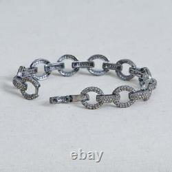 10K White Gold Over Mens Cuban Ling Round Cut Diamond Bracelet 8Inches