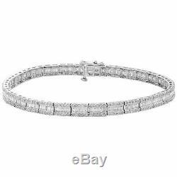 10K White Gold Over Round & Emerald Cut Diamond Bracelet 7.25 Tennis Link