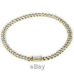 10K Yellow Gold Fn 5.50mm Diamond Miami Cuban Link Bracelet 8.50 Box Clasp 3 CT