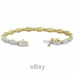 10K Yellow Gold Over Round & Baguette Cut Diamond Bracelet 7 Hexagon Frame Link