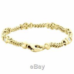 10K Yellow Gold Over Round Diamond Franco Link 8 Bezel Bracelet Mens Womens