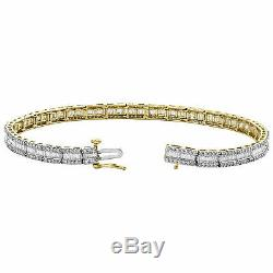 10K Yellow Gold Over Round & Emerald Cut Diamond Bracelet 7.25 Tennis Link