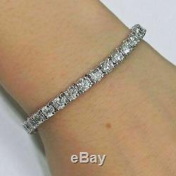10.00 Carat Ct Round Cut Diamond Tennis Bracelets 7.25 In 14k White Gold Over