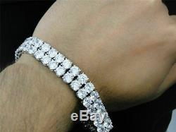 10.00 Carat Round Cut Diamond 2 Row Tennis Bracelet 14k White Gold Over 7.25
