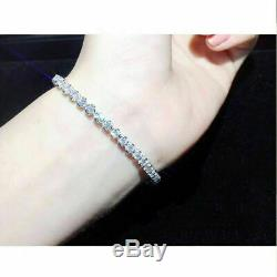 10.00 Carat Round Cut VVS1 Diamond Tennis Bracelet 14k White Gold Over 7.25