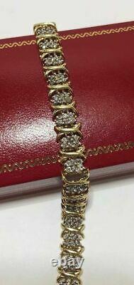 10.00 Carat Round Women's Diamond Tennis Bracelet 14K Yellow Gold over 7.25