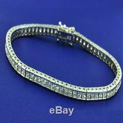10.00 Ct Ladies Princess VVS1 Diamond Tennis Bracelet 14k White Gold Over 7.25