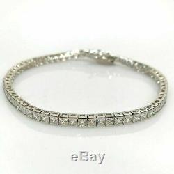 10.00 Ct Princess Cut VVS1 Diamond Tennis Bracelet 14k White Gold Over 7.25