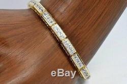 10.00 Ct Princess VVS1 Diamond Tennis Bracelet 14k Yellow Gold Over 7.25 Womens