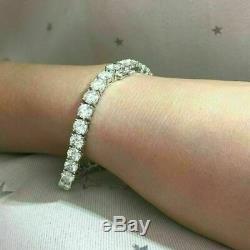 10.00 Ct Round-Cut 14k White Gold Over Diamond Tennis Bracelet D/VVS1 7.25 Inch