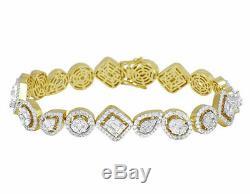 10.00 Ct Round-Cut 14k Yellow Gold Over Diamond Tennis Bracelet 7 Inch D/VVS1