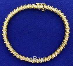 10.50 Ct Round Cut Sim Diamond 14k Yellow Gold Fn Womens Tennis Bracelet 7 1/2