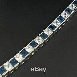 10 Ct Princess Cut Blue Sapphire Tennis Bracelet Women Beautiful Jewelry In 7.5
