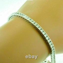 10 Ct Princess Cut White Diamond Tennis Unique Bracelet 7 14K White Gold Finish