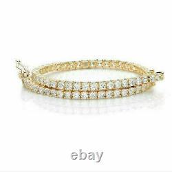 10 Ct Round Cut Diamond Channel Set Tennis Bracelet 14K Yellow Gold Over 7.75