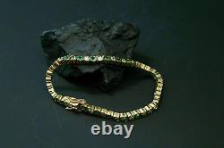 10 Ct Round Cut Green Emerald & Diamond Tennis Bracelet 14k Yellow Gold Over 7