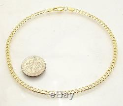 10 Italian Solid Cuban Curb Ankle Bracelet Anklet 14K Yellow Gold Clad Silver