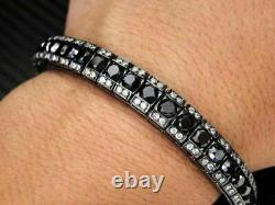 10 ct Black & White Round Diamond Men's Tennis Bracelet 925 Sterling Silver 8
