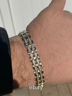 10k Gold Over Real Solid 925 Silver Iced Men's Presidential Link Bracelet 12mm