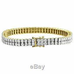 10k Yellow Gold Over Men Diamond Sterling Silver 2 Row Tennis Link Bracelet 8.5
