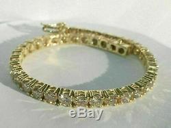 11.00 Ct Round-Cut Yellow Gold Over 14k Diamond Tennis Bracelet D/VVS1 8 Inch