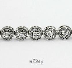 12.00 Ct Round Cut VVS1 Diamond Tennis Bracelet 14K White Gold Over Womens 7.25