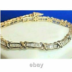 12 CT Baguette Cut Diamond Link Tennis Bracelet in 14k Yellow Gold Finish 7.50