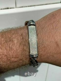 12mm Solid 925 Silver Diamonds Hip Hop Mens Presidential Cuban Prong ID Bracelet