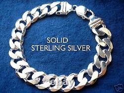 13MM 925 STERLING SILVER MEN'S CUBAN LINK BRACELET choice of length 89