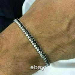 13. Ct Black & White Diamond Men's 2 Row Tennis Bracelets In 14k Yellow Gold Over