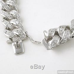 13mm 925 Sterling Silver Iced Out Mens Miami Cuban Bracelet