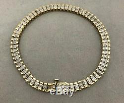 14K ESTATE TWO TONE GOLD Over 1.00 CT DIAMOND 8.25 FLEX TENNIS LINE BRACELET