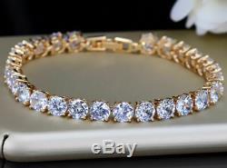 14K Rose Gold Over 5.00 Ct Diamond Tennis Bracelet 7.25 Round Cut Diamonds