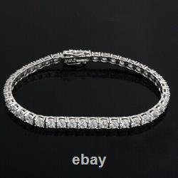 14K White Gold Over 2.50Ct Round Cut Diamond Tennis Bracelet Sterling Silver 925