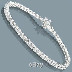 14K White Gold Over 5.00 CT Round VVS1 Diamond Tennis Bracelet 7.25 inch