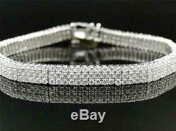 14K White Gold Over 8.00 Ct Round Cut 3 Row Diamond Tennis Bracelet 8 Inch