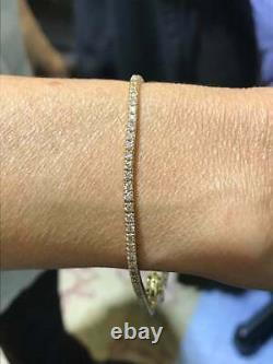 14K Yellow Gold Over 4.17 Carat 2.5 MM Diamond Tennis Women's Bracelet 7.5