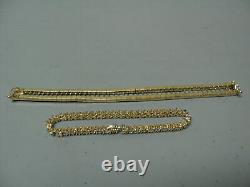 14K Yellow Gold Over 9 CT Diamond Straight Line Bracelet Custom JACKET, 7.50
