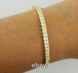14K Yellow Gold Over White Princess Cut Diamond 7.25 Tennis Women Spl Bracelet