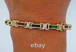 14K Yellow Gold Tennis Bracelet Diamond, Ruby, Sapphire and Emerald Over Silver