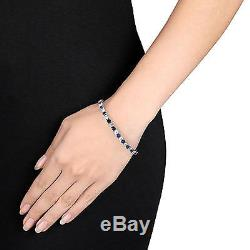 14 1/4 CT TGW Created Blue & White Sapphire Bracelet Silver Length 7.25