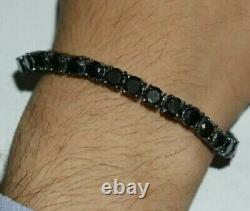 14k Black Gold Over 7.50 Ct Round Cut Black Diamond Tennis Bracelet Men's 8