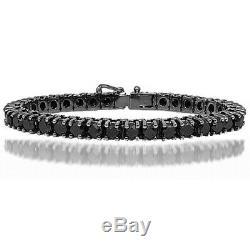 14k Black Gold Over Ladies Special Black Diamonds 4 Prong set Tennis Bracelet 7
